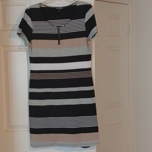 Striped Dress- Black, White and Tan